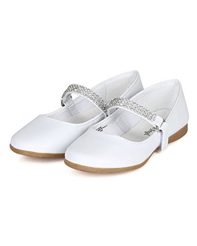 Leatherette Round Toe Rhinestone Mary Jane Ballerina Flat (Toddler/Little Girl) CA05 - White Leatherette (Size: Toddler 7) by Little Angel (Image #4)
