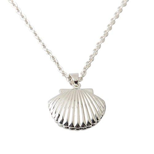 Fheaven Seashell Locket Pendant Silver Locket Silver Brass Sea Shell Necklace Gift