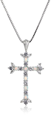Jewellery Collection - Sterling Silver Created Opal and White Sapphire Cross Pendant Necklace, 18