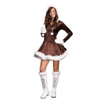 sugar-sugar-by-dg-brands-cute-furry-hooded-juniors-teen-costume-eskimo-cutie-pie-brown-x-small