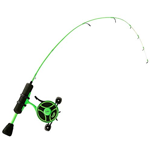 """13 FISHING Radioactive Pickle Ice Combo 25"""" UL - FF Ghost w/New Line Window + Tickle Stick (Reel Seat) - Right Hand"""