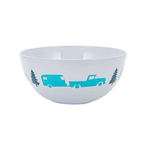 - Camco Life is Better at The Campsite Bowl-  White with Teal and Navy Retro RV, Trailer and Camper Print , Great for Cereal, Fruit and Desert  BPA Free, Melamine(53225)