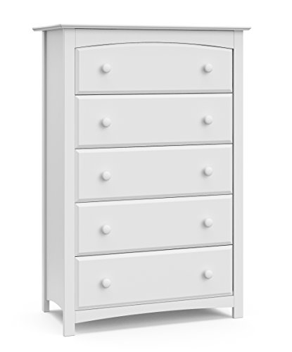 Storkcraft Kenton 5 Drawer Universal Dresser, White, Kids Bedroom Dresser with 5 Drawers, Wood and Composite Construction, Ideal for Nursery Toddlers Room Kids Room (Kids Drawer)