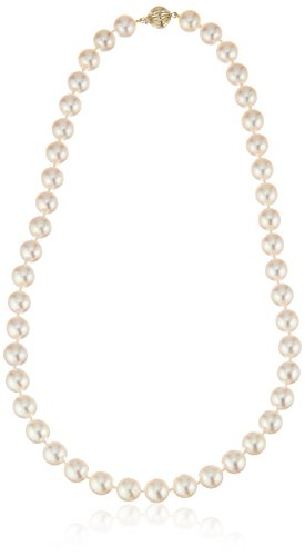 14k Yellow Gold 9-9.5mm AAAA Handpicked White Japanese Akoya Cultured Pearl Strand, 18'' by Amazon Collection
