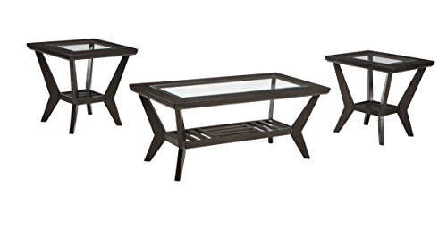 Ashley Furniture Signature Design - Lanquist Occasional Table Set - Glass Tops and Open Slat Shelves - Contemporary - Set of 3 - Brown