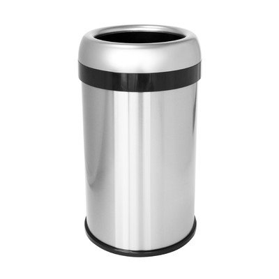 13-Gal. Dual-Deodorizer Round Open Top Fingerprint-Proof Stainless Steel Trash Can by Halo