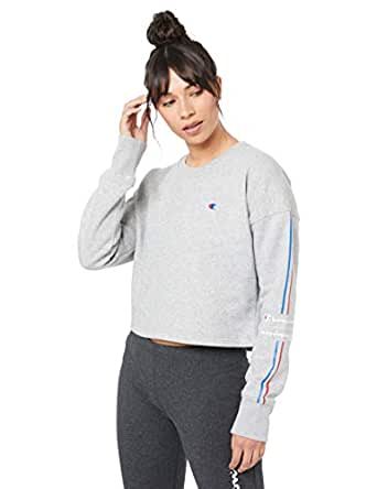 Champion Women's Sporty Cropped Pullover Crew, Oxford Heather/White, X-Small