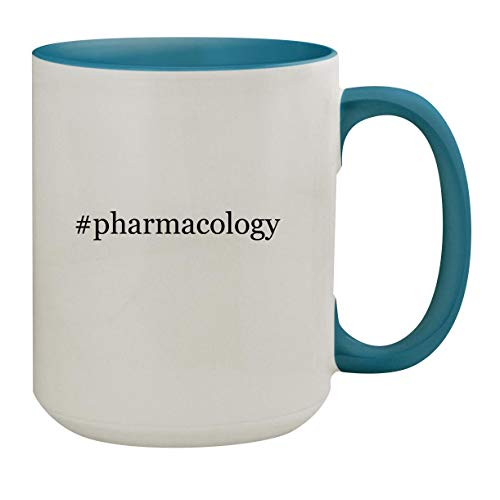 #pharmacology - 15oz Hashtag Ceramic Inner & Handle Colored Coffee Mug, Light Blue (Christmas 7 Edition Kd)
