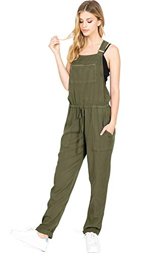 Love Stitch - LOVE STITCH Women's Juniors Baggy Chambray Jumpsuit Overalls (M, Army)