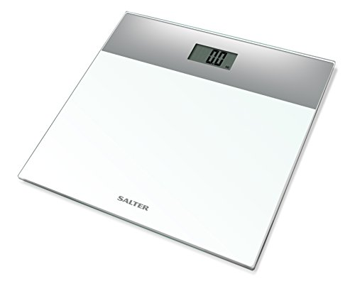 Salter Digital Body Weight Bathroom Scale (Ultra Slim, Easy Read Tempered Glass, Step-On Technology, Electronic Precision, 15 Year Guarantee) - Silver/White