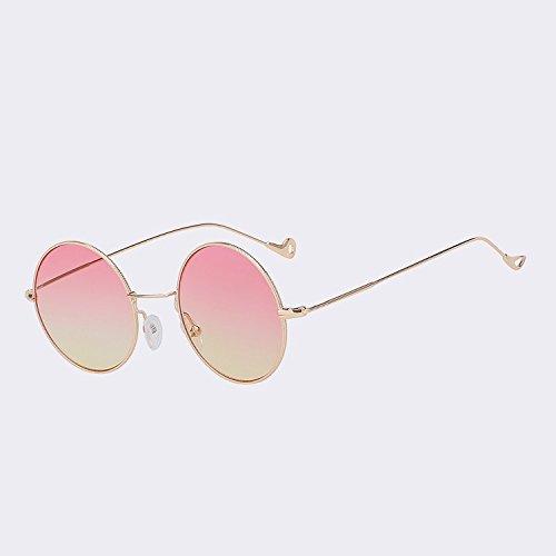 mar red Gafas mar espalda sol de Vintage color Gold mujeres Steampunk de w gafas mujeres W moda de para yellow gafas rojo sol de redonda UV400 Oro TIANLIANG04 de TwWA0qOpgn