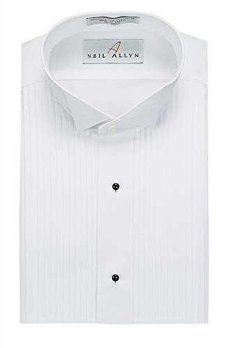 Neil Allyn Mens Tuxedo Shirt Poly/Cotton Wing Collar 1/4 Inch Pleat (18.5 - 34/35) White
