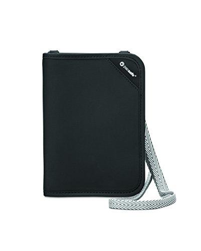 31%2BxUU7EdVL - Pacsafe Rfidsafe V150 Anti-Theft RFID Blocking Compact Passport Wallet, Black