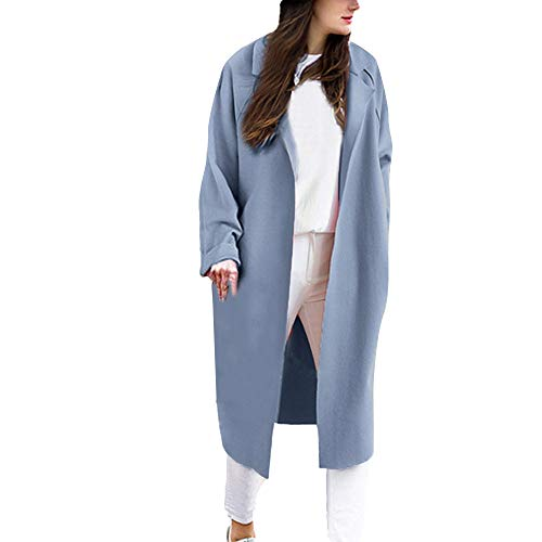 Willow S Women Autumn Casual Cardigan Coat Solid Long Sleeve Lapel Collar Open Front Slim Tunic Loose Comfy Trench Jacket (M, Light Blue)