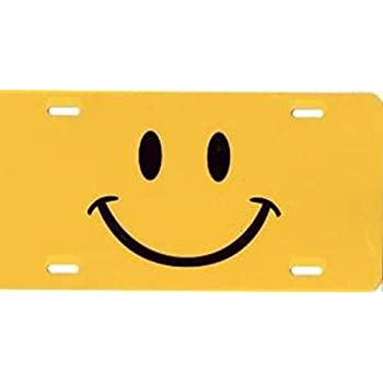 Yellow Smiley Face License Plate Free Personalization on this Plate
