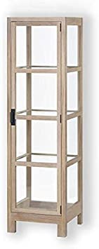 Lambert Vista 56695 - Vitrina de cristal con marco de madera de roble maciza, laterales y puertas acristaladas, 3 estantes de cristal, 60 x 60 x 210 cm