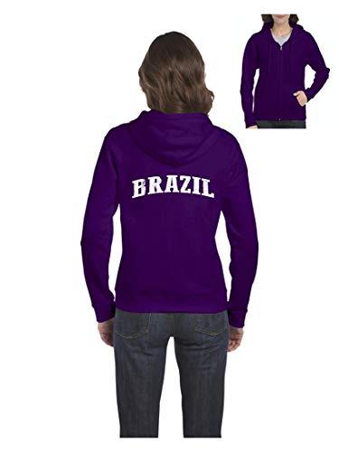 Brazil Flag Proud Home Rio de Janeiro Traveler`s Gift Women's Full-Zip Hooded (LP) Purple