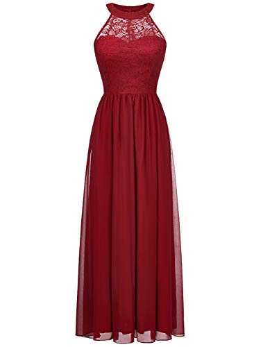 Wedtrend Halter Floral Lace Long Chiffon Bridesmaid Dress Cocktail Party Formal Maxi Dress WT0201DarkRedXS