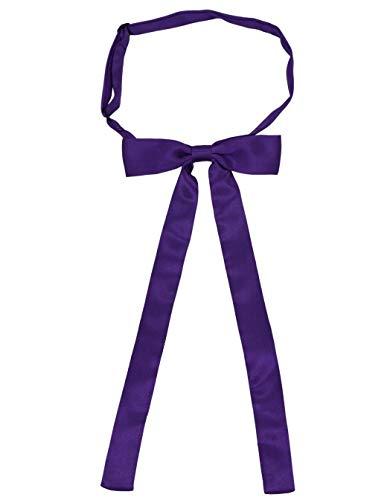 SYAYA Ladies Party Long Pre Bow Tie Womens Girl Necktie Solid Color Bowtie for Women Ties WT01 (Purple)
