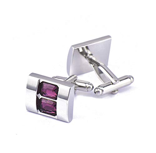 Daesar Cuff Links Copper Cuff Link and Studs Rectangle Crystal Cuff Links Simple Purple