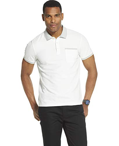 - Van Heusen Men's Slim Fit Never Tuck Short Sleeve Solid Polo Shirt, Bright White, Large
