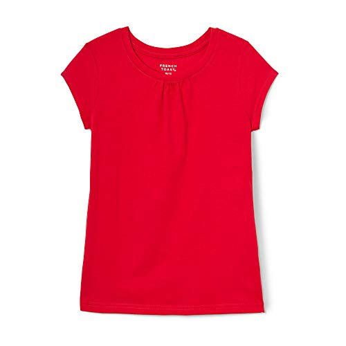 French Toast Girls' Short Sleeve Crew Neck Tee,Red,6X -