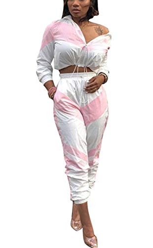 ThusFar Women's Tracksuit Two Piece Outfits - Jumpsuits Lightweight Windbreaker Pullover Jacket Crop Top Pants Set Pink Large