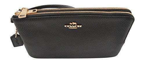 - Coach F87587 Double Zip Pebble Leather Wristlet Wallet (Black)