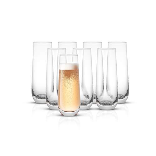 JoyJolt Milo Stemless Champagne Flutes Set of 8 Crystal Glasses. 9.4oz Champagne Glasses. Prosecco Wine Flute, Mimosa…