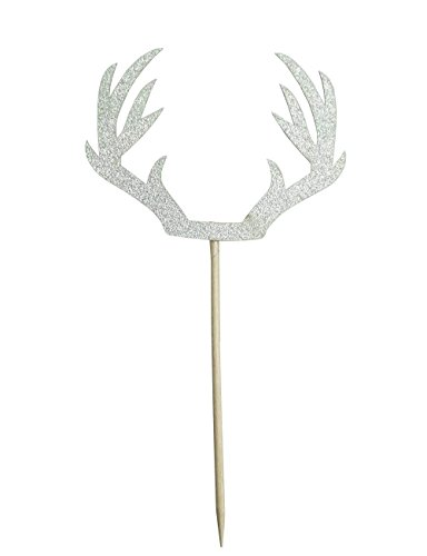 Silver Deer Antler Cake Cupcake Toppers Picks for Wedding Birthday Baby Shower Party Decorations Supplies, Pack of 12 by Shxstore