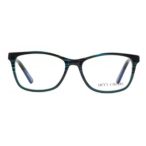 OCCI CHIARI Unisex Fashion Non-Prescription Acetate Eyewear Frames With Clear Lens(Blue, - Cleaning Acetate Frames
