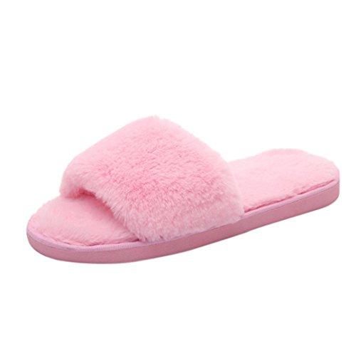 Bonjouree Pantoufle Femme Hiver Chaussons Ado Fille Doux Moelleux Rose