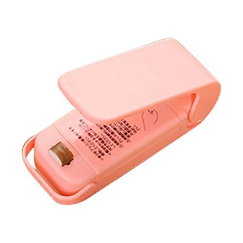 Sealer Portable Mini Sealer Home Heat Bag Plastic Food Snacks Bag Sealing Machine Food Packaging Kitchen Storage Bag Clips Wholesale (Color : Pink)