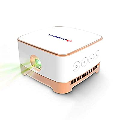 AMOOAW Portable Projector,Mini Projector,Movie Smart 100 ANSI Wi-Fi Bottom Speaker,4-Hour Video Playtime,Pico Projector Connection Android 7.1 & iOS Suitable Outdoor,Indoor,Camping,Smartphone