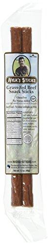 Nick's Sticks 100% Grass-Fed Beef Snack Sticks - Gluten Free - No Antibiotics or Hormones (12 Packages of 2 Sticks)