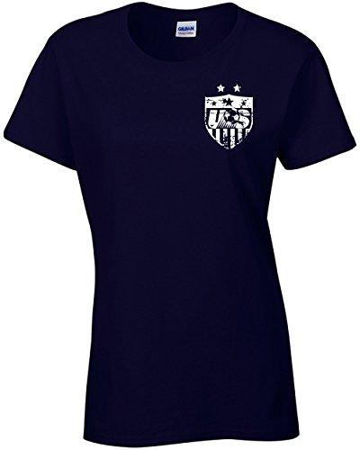 Jacted up Tees Carli Lloyd US Women's Soccer Front & Back Ladies T-Shirt - XL Navy (1087)
