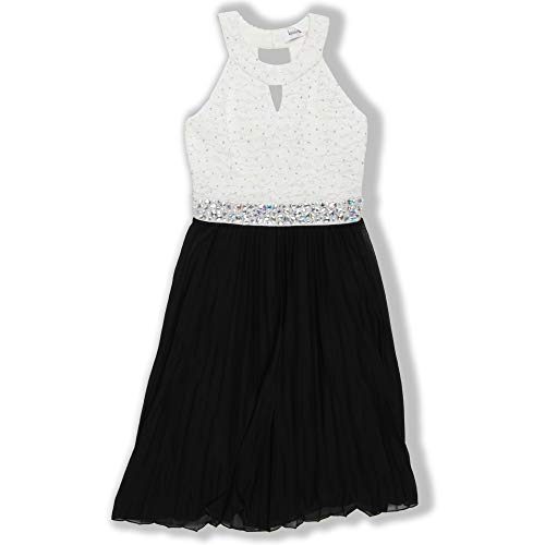 Speechless Girls' Big 7-16 Tween Party Dress with Neck Cut-Out and Pleated Skirt, Ivory/Black, 8 -