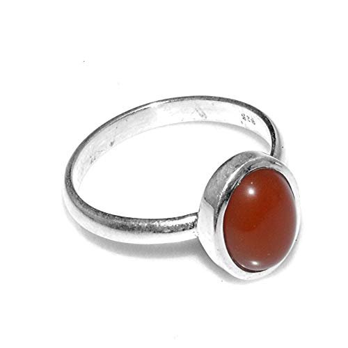 Silver Palace 925 Sterling Silver Natural Carnelian Ring for Womens and Girls