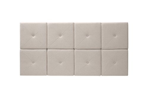 Foremost Tessa THT-61013-FB-LIN-FQ 62-Inch by 31-Inch Natural Linen with X Seam and Tuft Headboard Tiles, Queen