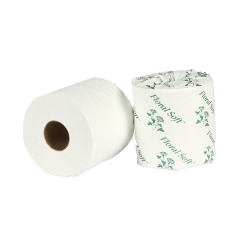 APC Floral Soft B645 2 Ply Embossed Bathroom Tissue, 4.4'' x 3.5'', 600 sheet Rolls (Case of 40 Rolls)