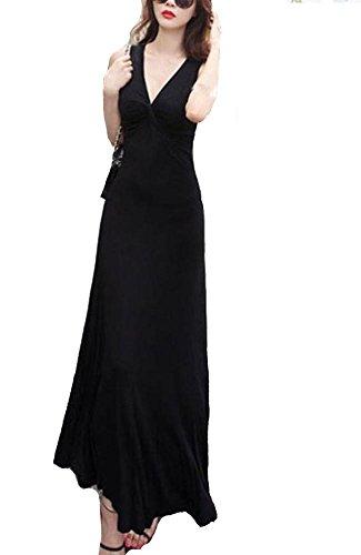 Kufv Women's Knitted V neck Sleeveless High Waist A-line Vest Long Evening Dress