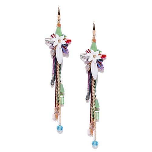 - Jewels Galaxy Luxuria Edition Delicate Florets Design Onyx Rose Gold Plated Tantalizing Tassel Earrings For Women/Girls Multi-Colour