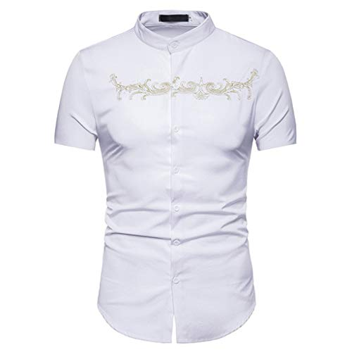 YOCheerful Men's Tops Hipster Casual Slim Fit Short Sleeve Button Down Shirts Loose Daily Tops Embroidery Printed Tops(White, L) ()