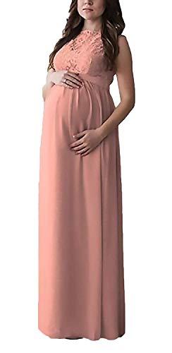 Pink Elegante Vestito Da Donna Alta In Vita Gestante Pizzo Classica Maniche Abito Senza Abiti Maternità Moda Moderno Estivo Chiffon Stile Vestibilità aWXnWR