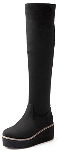 Easemax Women's Comfy Faux Suede Round Toe Mid Wedge Heel Pull On Over Knee High Booties Black Q3ToJHZJYQ