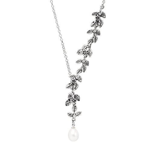 Necklace Collar Pearl Cultured (Silpada 'Winds of Change' 7 mm Freshwater Cultured Pearl & Cascading Vine Necklace in Sterling Silver)