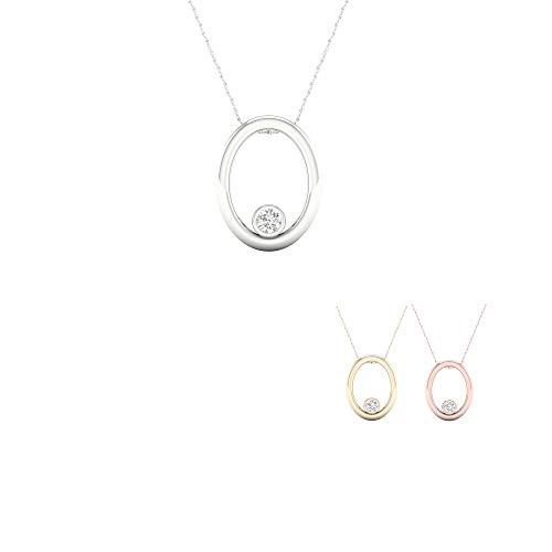 - IGI Certified 10K White Gold 1/20Ct TDW Diamond Solitaire Necklace (I-J,I2)