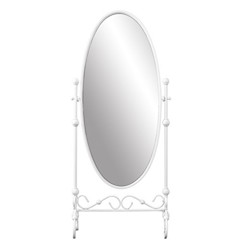 Furniture HotSpot Oval Cheval Mirror - White Metal Frame - Free Standing Full Length Mirror