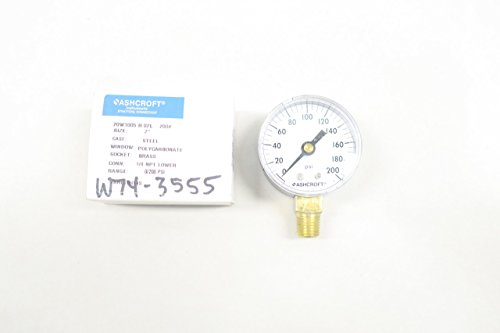 ASHCROFT 20W1005-H-02L-200# Pressure Gauge 0-200PSI 2IN 1/4IN NPT D585686
