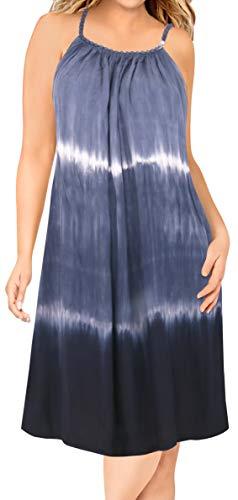 Dress Tie Heart Dye - LA LEELA Women Summer Casual T Shirt Dresses Beach Cover up Tank Swing Sundress Rayon Tie Dye Navy Blue_L337